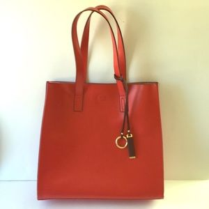 Red Genuine Leather Shoulder Bag Tote Purse